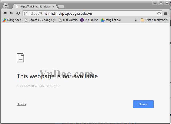 Nhập sai địa chỉ truy cập trang Thisinh.thithptquocgia.edu.vn