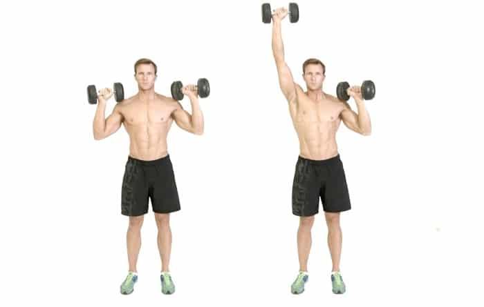 Đứng đẩy tạ đôi, bài tập cho cơ vai phát triển